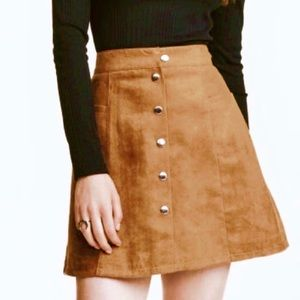 H&M Brown Button Up Skirt NWOT
